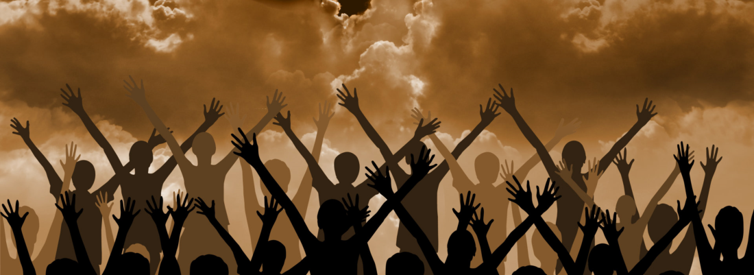 vector illustration of people raising their hands