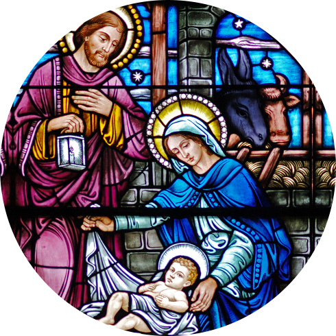 mother mary with her husband and her born child
